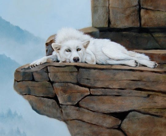 """Alpha,"" oil painting by Jan Comstock of Baileys Harbor, which received a Meritorious Selection in the ""Animals, Birds & Wildlife 2019"" art competition sponsored by Richeson 75 International."