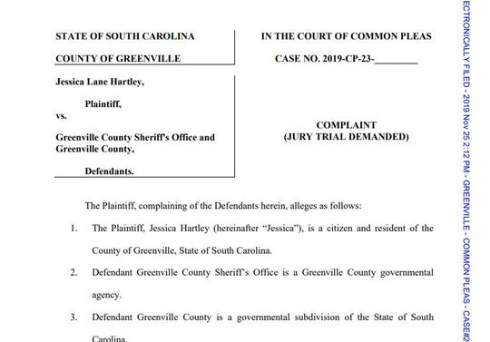 A lawsuit filed last month claims a Greenville County deputy inappropriately texted with a woman he was taking to jail.