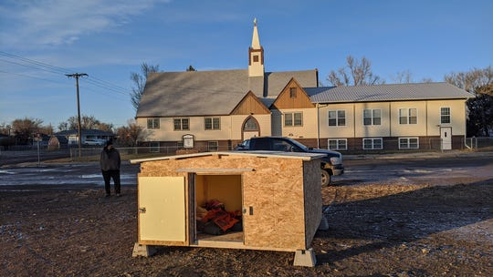 Erik Johannessen, a Wolf Point resident, built huts to help people experiencing homelessness stay warm at night.