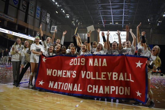 Marian volleyball celebrates its first NAIA national championship victory. The volleyball team is one of a number of teams to find success at Marian.