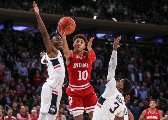Indiana Hoosiers guard Rob Phinisee (10) drives to basket in the second half against the Connecticut Huskies at Madison Square Garden.