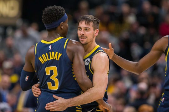 The Pacers have a dynamic duo in guards  T.J. McConnell and Aaron Holiday. They celebrated Nov. 25 after a basket in the second half against the Memphis Grizzlies at Bankers Life Fieldhouse.