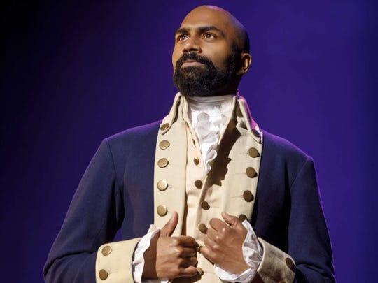 "Nik Walker portrays Aaron Burr in ""Hamilton."""
