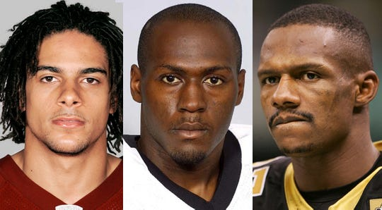 From left: John Eubanks, Etric Pruitt and Joe Horn. These are three of 10 former NFL players who are charged in a nationwide scheme to defraud a health care benefit program.