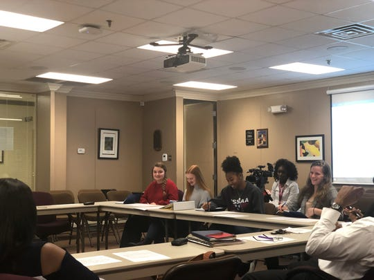The JMCSS student advisory committee, composed of four students, gave input about cellphone usage at Monday's meeting.