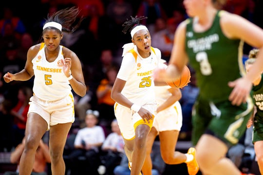 Tennessee guard Jordan Horston (25) dribbles down the court during a game between Tennessee and Colorado State at Thompson-Boling Arena in Knoxville, Tenn. on Wednesday, Dec. 11, 2019. The Lady Vols defeated the Rams 79-41.