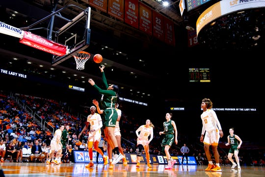 Colorado State center Liah Davis (34) shoots a layup during a game between Tennessee and Colorado State at Thompson-Boling Arena in Knoxville, Tenn. on Wednesday, Dec. 11, 2019. The Lady Vols defeated the Rams 79-41.
