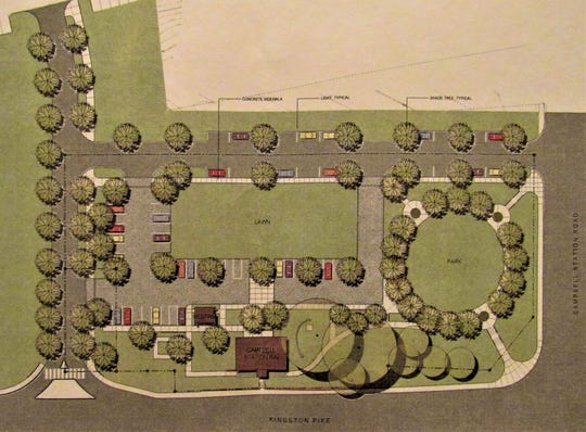This site layout shows the plan for the Campbell Station Inn and plaza. With exterior renovations complete, landscaping and road work is in progress now.