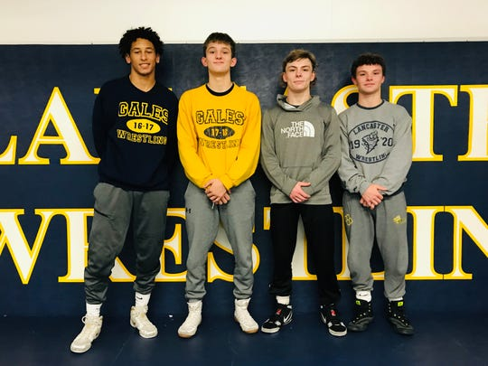 The Lancaster wrestling team has won five consecutive Ohio Capital Conference-Ohio Division championships. The Golden Gales' top returning wrestlers are, from left to right: Titan Johnson, Jacob Reed, Logan Agin and Aiden Agin