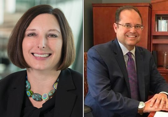 [Left] April Clobes, President and CEO of Michigan State University Federal Credit Union and [Right] Ed Harden, President of Capitol National Bank.