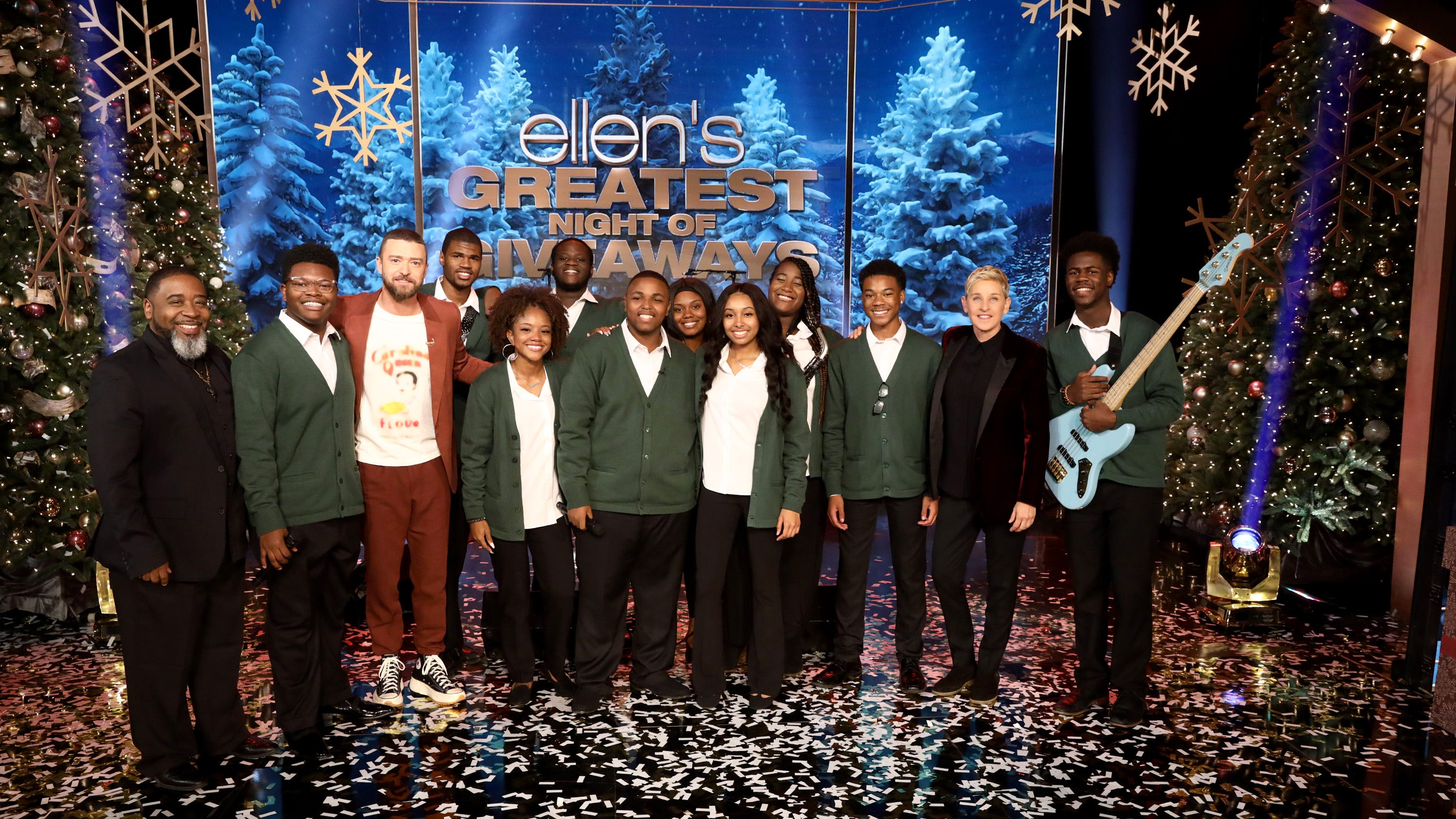 JT and Ellen spread holiday cheer to Stax Music Academy