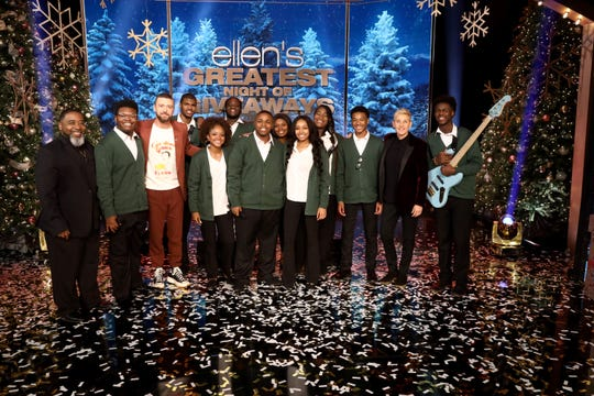"The Dec. 12 episode of ""Ellen's Greatest Night of Giveaways"" featured Stax Music Academy students performing with Justin Timberlake. SMA student Christopher Clark is pictured in center."