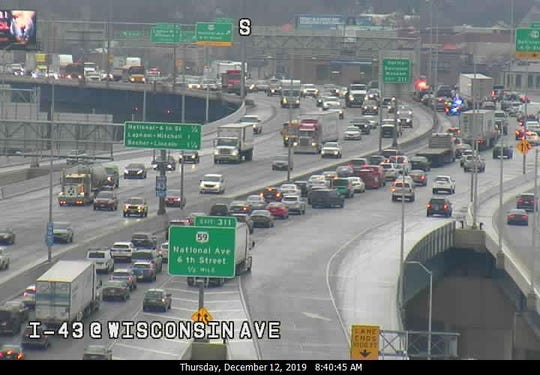 Traffic was backed up on I-43 in Milwaukee on Thursday morning. Traffic was a mess throughout the metro area during the morning commute.