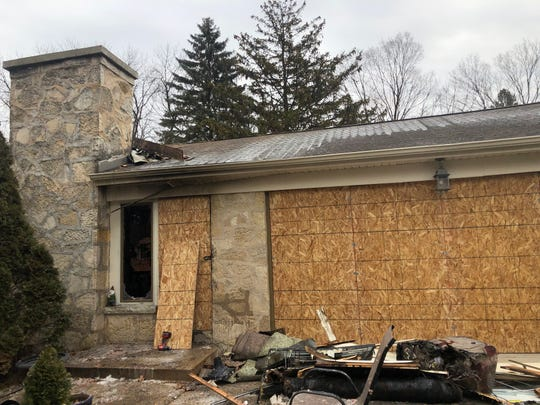 The outside of a home near West Potter Road and West Underwood Parkway left parts of the outside untouched but destroyed a majority of the interior of the home.
