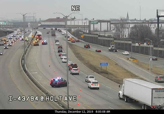 Two lanes of northbound I-43 are closed because of a traffic incident on December 12.