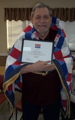 Danny Riley of Mountain Home was recently awarded a Quilt of Valor by the Mountain Home Quilts of Valor in a ceremony at the Van Matre Senior Center. Riley served in the U.S. Army from 1965-1968, was deployed to Vietnam from 1967-1968, then served in the reserves until 1971.