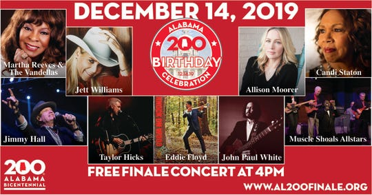 Alabama native acts are coming to Montgomery to perform Saturday for Alabama's Bicentennial celebration.