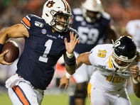 Auburn quarterback Joey Gatewood (1) runs the ball at Jordan-Hare Stadium in Auburn, Ala., on Saturday, Sept. 14, 2019. Auburn defeated Kent State 55-16.