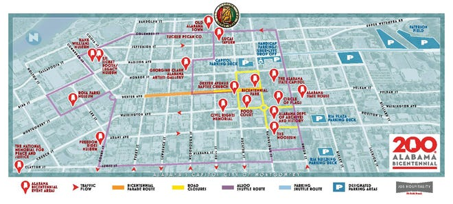 Parking locations and street closures for downtown Montgomery on Saturday during Alabama's Bicentennial.