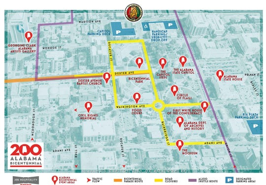 Routes and locations around downtown Montgomery for Saturday's bicentennial celebration for Alabama.