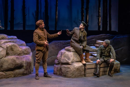 "Danny Lindgren, James Anthony Hunsaker and Jordan Ahnquist in a scene from ""All is Calm,"" which runs through Dec. 29 at Alabama Shakespeare Festival."