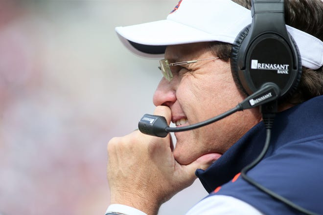 Auburn head Gus Malzahn looks on during a game against Arkansas Donald W. Reynolds Razorback Stadium on Oct. 19, 2019.