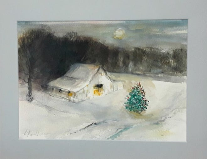 Drawing inspiration from a barn he previously owned in Muncie, Jimmie Faulkner created a snowy scene with a barn and Christmas tree for the Christmas card contest.