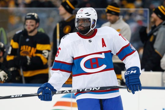 Montreal Canadiens' P.K. Subban (76) during the second period of the NHL Winter Classic hockey game against the Boston Bruins at Gillette Stadium in Foxborough, Mass., Friday, Jan. 1, 2016. The Canadiens won 5-1. (AP Photo/Michael Dwyer)