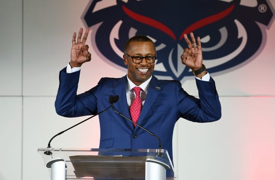 Willie Taggart is introduced as the new head football coach at Florida Atlantic University on Thursday, Dec. 12, 2019.