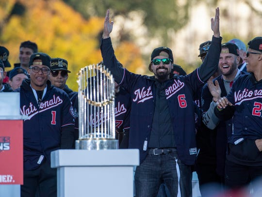Nov 2, 2019; Washington, DC, USA; Washington Nationals third baseman Anthony Rendon (6) at the World Series Championship Parade.