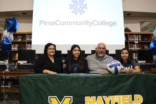 Mayfield senior Deanna Almaguer signed her national letter of intent on Tuesday to attend Pima Community College.