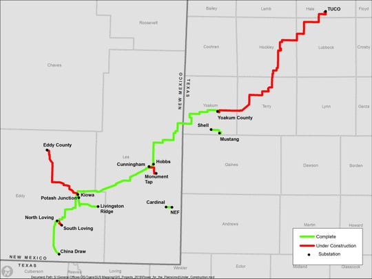A map of Xcel's transmission lines completed or under construction