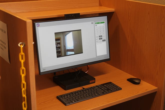 A new Video Relay Service (VSR) phone installed at the Alamogordo Public Library to assist people whose primary language is American Sign Language.
