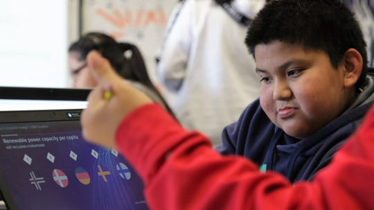 Harrison Begay, 6th grader at Ojo Elementary School, works on a group project with other students using STEM skills to address issues in their communities on Dec. 12, 2019.