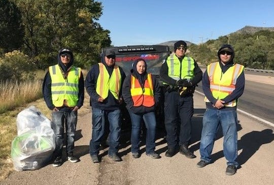 During a recent highway clean up Bureau of Indian Affairs Law Enforcement and the officials with the  Mescalero Fish Hatchery collected 11 bags of trash along a section of U.S. 70 they adopted under the New Mexico Adopt-a-Highway program.
