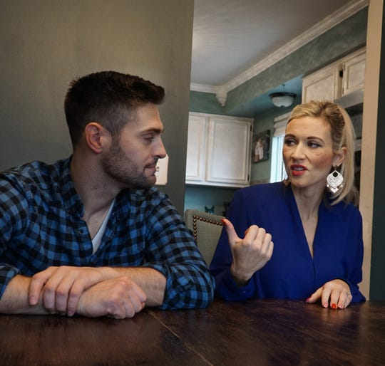Engaged couple Aaron Noble and Courtney Mathews talk about first meeting on the set of Christmas Coupon, a Michigan-made movie they starred in.
