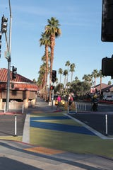 The newly painted crosswalks are designed to increase pedestrian safety on El Paseo in Palm Desert, Calif., on December 11, 2019. But not everyone thinks they are a good fit.