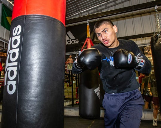 Rising boxer Vergil Ortiz Jr. works out a gym in Riverside.