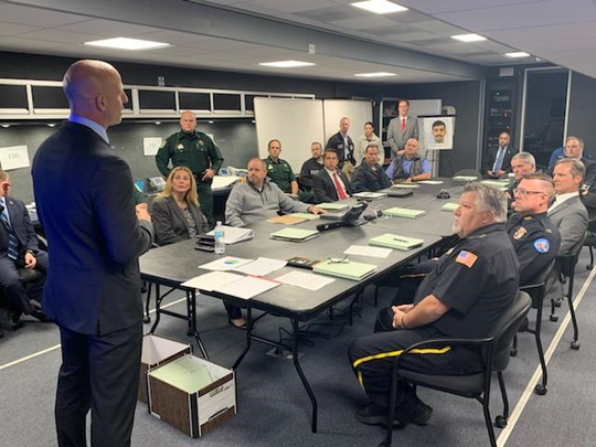 FBI Special Agent in Charge Rachel Rojas and her team hosted a briefing on the NAS Pensacola shooting investigation for the Executive Board of the Joint Terrorism Task Force, which consists of leadership from law enforcement agencies across north Florida, on Thursday, Dec. 12, 2019.