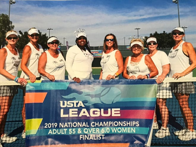 From L to R: Tonya Chase, Ingrid Corbett, Jean Cochran, Deborah Reese, (Captain) Prebble Baker, Carole Cantin, Carolyn Moore, Allison McCrory celebrate a second place national finish. Not picture: Susan Bentley, Helen McDaniel.