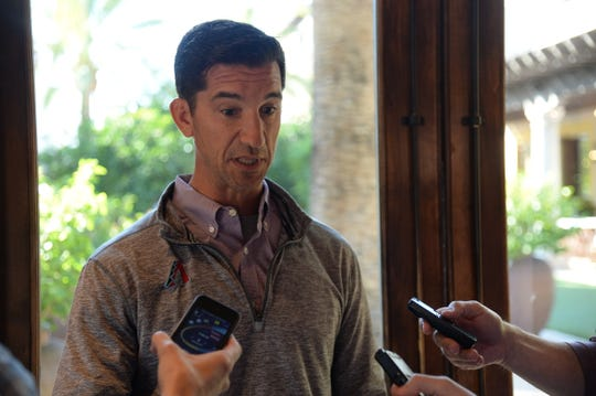 Diamondbacks General Manager Mike Hazen speaks during media availability at MLB general managers meetings on Nov. 12 at the Omni Scottsdale Resort & Spa at Montelucia.