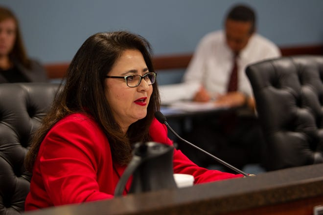 Lea Márquez Peterson at a Corporation Commission hearing, Dec. 11, 2019.