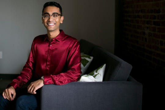 Sonny Patel, the founder CEO of insurance app Insurmi, stands in the tech co-working space Galvanize in Phoenix, Arizona on Dec. 3, 2019.