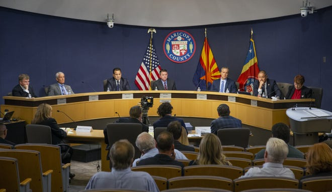 The Maricopa County Board of Supervisors conducts a hearing on Wednesday, Dec. 11, 2019.