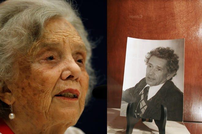 Combo de fotografías de archivo que muestran a la premio Cervantes 2013, Elena Poniatowska (i), y al escritor mexicano Juan José Arreola (d).