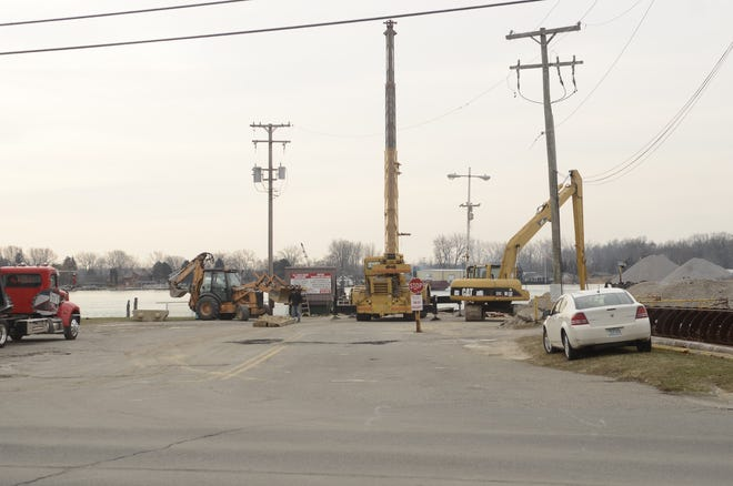 Rescue crews remain at the scene of the ferry ramp collapse in Clay Township Thursday morning.