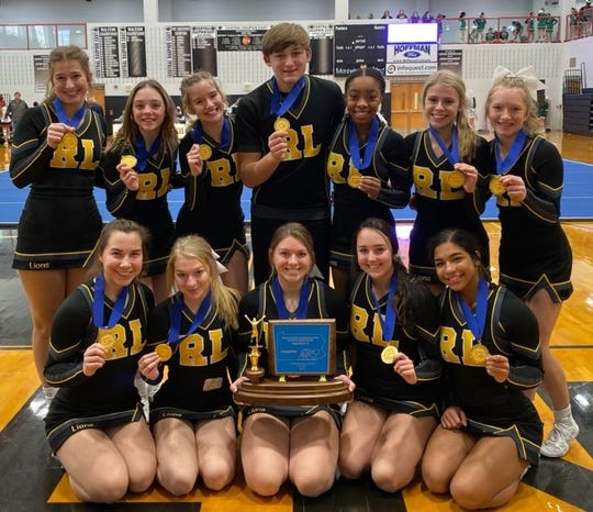 Red Lion High School recently won the District 3Competitive Spirit Co-Ed Medium Division Championship. In the front row, from left, are: Evelyn Adams, Brielle McLearnon, Morghan Lehr, Paige Kuria and Jill Jones. In the back row, from left, are: Margaux Rentzel, Karlie Huster, Nicole Gunter, Conner Holmes, Giselle Jones, Emma Mader and DaniLeigh Graham.
