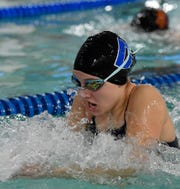 Sadie Koicuba swims the breast stroke leg of the 200 medley relay for Dallastown as the Wildcats host York Suburban, Thursday, December 12, 2019.