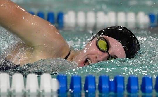 Kathryn Deitch of Dallastown wins the 500 free event with a time of 5.55:55 against York Suburban, Thursday, December 12, 2019.John A. Pavoncello photo