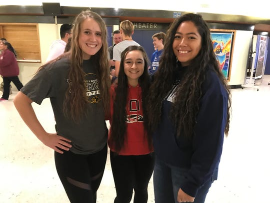 Reed had three softball players sign for college on Wednesday, (left to right) Jillian Kygar, Cailyn Leone and Hilana Ely.